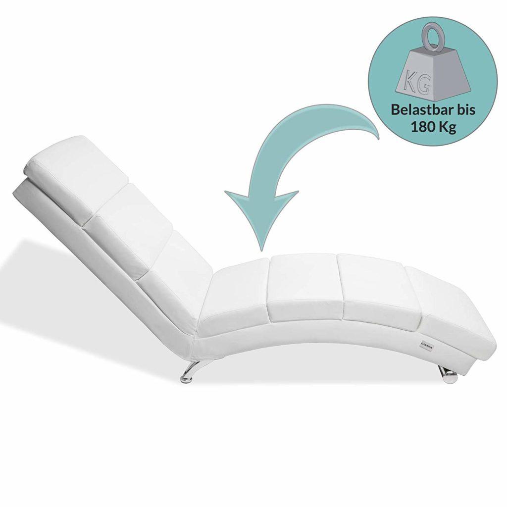 Chaise Longue London 173x55cm Sedia a sdraio Relax Similpelle Ergonomica divano poltrona soggiorno bianco
