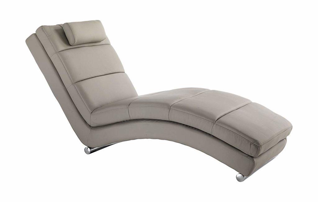 Wink Design Chaise Longue Sofia Taupe Pelle Beige