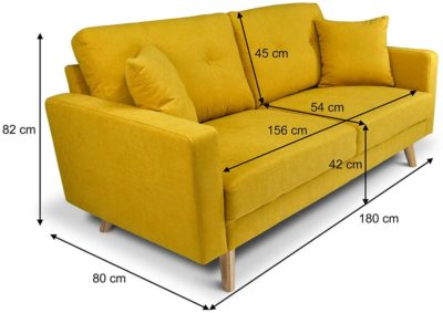 divano giallo 3 posti