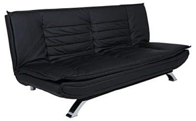 AC Design Furniture 47397 Divano Letto Jasper finta pelle Nero Gambe in Metallo Cromato Superficie Sdraiata Ca 196 x 123 cm 0