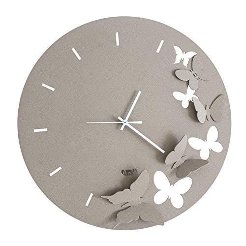 Arti Mestieri Butterfly Spring Orologio da Parete di Design 100 Made in Italy in Ferro Diametro 40 cm Beige 0