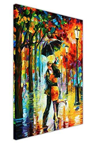 Canvas It Up quadri a stampa su tela Dance under the rain ballo sotto la pioggia di Leonid Afremov astratto formato poster Tela puntine Legno 04 30 X 20 76CM X 50CM 0