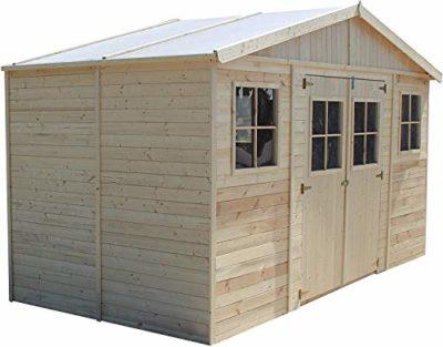Casa da giardino in legno naturale H246x418x220 cm8 m Magazzino esterno con finestre Capanno da giardino Bici Deposito attrezzi e rimessa TIMBELA M332 0