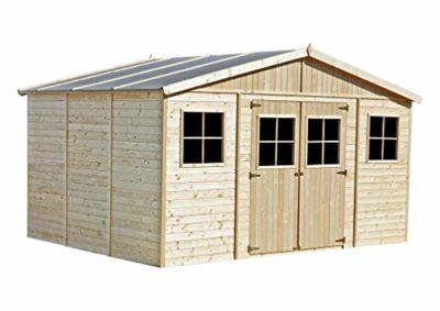 Casa da giardino in legno naturale H246x418x318 cm12 m Magazzino esterno con finestre Capanno da giardino Bici Deposito attrezzi e rimessa TIMBELA M331 0