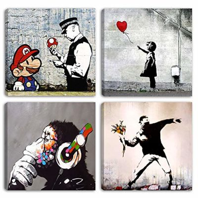 Degona Quadri Moderni Banksy 4 pz cm 30x30 cad Stampa su Tela Canvas Arredamento Arte Astratto XXL Arredo per Soggiorno Salotto Camera da Letto Cucina Ufficio Bar Ristorante 0