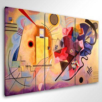 Degona Quadro Moderno Kandinsky Yellow Red Blue cm 150x100 Stampa su Tela Canvas Arredamento Arte Arredo Astratto 0