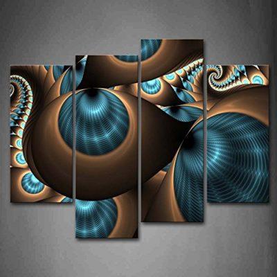 First Wall Art Astratto Quadri Fori di Turbolenza Blu Marrone Stampa su Tela 4 Pannelli Moderni Decorazione da Parete per SoggiornoCamera da LettoCucina 0