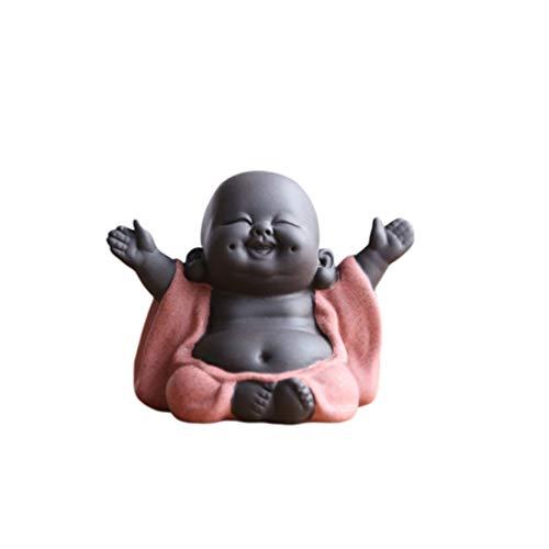Healifty Statua creativa di Buddha in ceramica piccola statua di Buddha monaco creativo cucciolo artigianato bambole decorazione regalo delicata ceramica cinese arte e artigianato 0