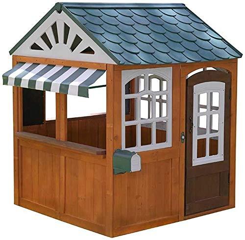 KidKraft 405 Casetta Gioco da Giardino e Esterno Garden View in Legno per Bambini con lavagne fioriera e Tenda Stile caffetteria Colore Marrone 0