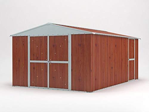 Notek Srl Box in Acciaio Zincato Casetta da Giardino in Lamiera 360 x 430 m x h210 m 185 kg 1548 Metri Quadri Finitura Legno 0