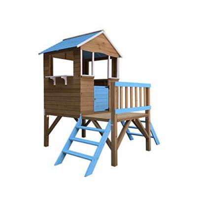 Outdoor Toys Casetta per Bambini in Legno Blue Melody 323 m de 198x170x197 cm con Portico e Scalette 0