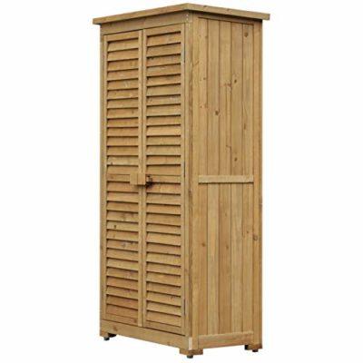 Outsunny Armadio Porta Attrezzi da Giardino Impermeabile 3 Ripiani Legno 87x465x160cm 0