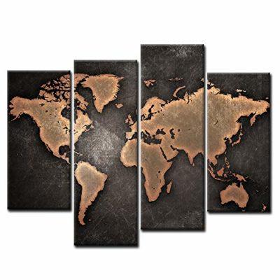 Primo Muro Art Generale Mondo Carta geografica Nero Sfondo Pittura di Arte della Parete La Stampa su Tela di Canapa Arte Quadri dillustrazione per LUfficio Domestico Decorazione Moderna 0