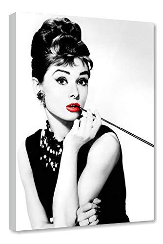 Quadri LC ITALIA Audrey Hepburn 2 Labbra Rosse Quadro Moderno Soggiorno e Camera da Letto Ragazza 50 x 70 Stampa su Tela Bianco Nero 0