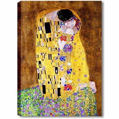 Quadri LC ITALIA Il Bacio di Klimt Quadro Moderno Soggiorno Salotto e Capezzale Camera da Letto 70 x 100 Stampa su Tela Canvas da Parete Grande 0