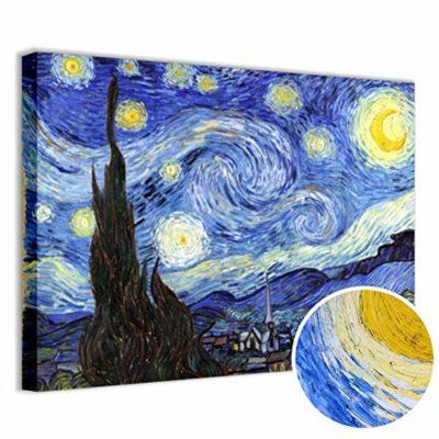 Quadri LC ITALIA Quadro Van Gogh Notte Stellata Stampa su Tela 70 x 50 Soggiorno Camera da Letto Salotto Ufficio 0