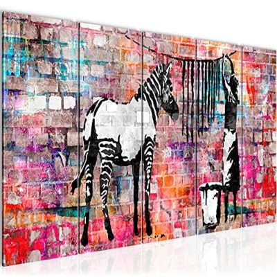 Quadri Moderni Banksy Donna che Asciuga le Zebre 150 x 60 cm Soggiorno Grande Marrone Sala Da Pranzo 012956c 0