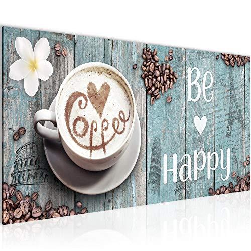 Quadri Moderni Caffe Cucina 1 Pezzo Tela Non Tessuta Soggiorno Corridoio Sii Felice Blu 020712c 0