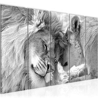Quadro Leoni Amore Stampa DArte Tela Non Tessuta Decorazione Murale Soggiorno Camera Da Letto 002156c 0