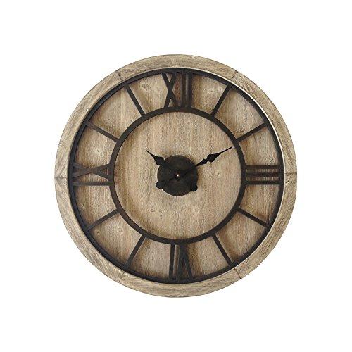 Rebecca Mobili Orologio da sala grande rotondo legno mdf ferro design retro numeri romani arredo casa Diametro 70 cm x P 55 cm Art RE6009 0