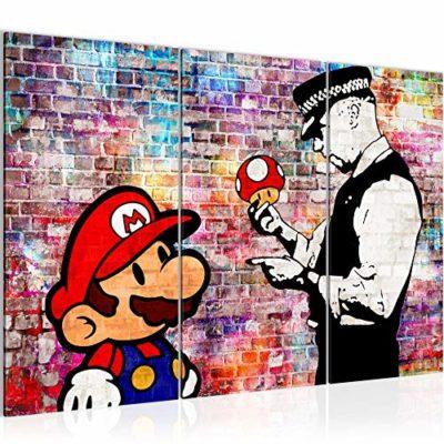 Runa Art Mario E Il Poliziotto Banksy Quadri Soggiorno Grande Grigio Arte Di Strada 120 x 80 cm 3 Pezzi Decorazione Murale 303031c 0