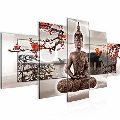 Runa Art Quadri Budda Feng Shui 200 x 100 cm 5 Pezzi XXL Decorazione Murale Design Beige Rosso 503251c 0