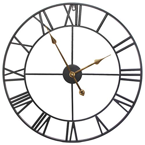 SEJU Orologio da parete silenzioso per soggiorno cucina camera da letto ufficio salotto metallo Nero 60 cm 24242 inches 0