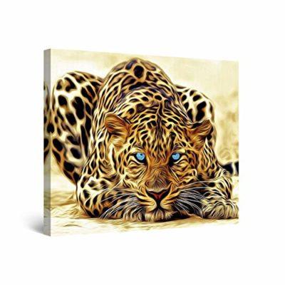 Startonight Quadro su Tela Leopard Irreale Quadri Moderni Animali Stampe Incorniciato e Pronta da Appendere per Camere da Letto 80 x 80 CM 0