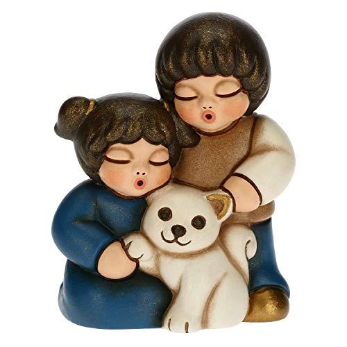 THUN Statuina Presepe Coppia di Bambini con Gatto Decorazioni Natale Casa Linea Presepe Classico Variante Blu Ceramica 55 x 4 x 65 h cm 0