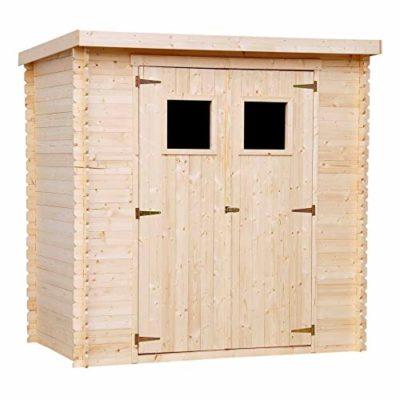 TIMBELA M311M311G Casetta da giardino in legno per esterni con pavimento rimessa in pino abete Tetto piano H206 x 200 x 130 cm 222 m2 0