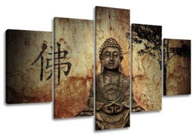 Visario 5502 Quadro su Tela Buddha 160 cm 5 Pezzi 0