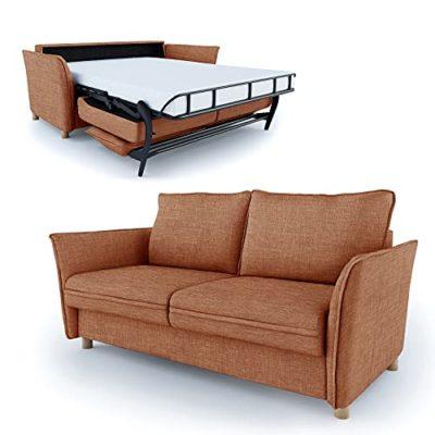 place to be Divano letto da 160 cm di larghezza 3 posti con funzione letto pieghevole colore arancione M19119 0