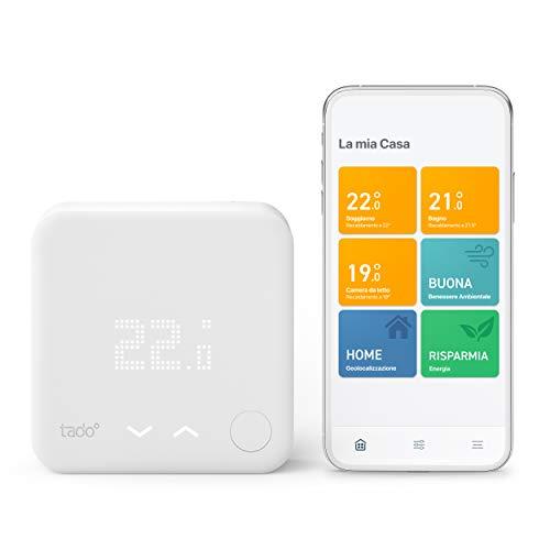 tado Kit Base Termostato Intelligente Cablato V3 Gestione smart del riscaldamento Installazione fai da te compatibile anche con impianto a pavimento idronico con Alexa Siri e Google Assistant 0